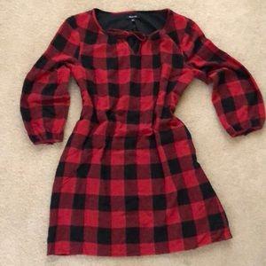 Madewell red&black checks tunic dress size M, NWT
